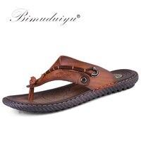 Mejor BIMUDUIYU marca chanclas suave microfibra cómoda zapatillas de cuero playa Chanclas Zapatos de verano para hombres