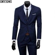 (Vest+suit+pants) 2018 Men Pure Color high-grade brand fashion wedding dress suits Men boutique slim formal business Blaze Suits