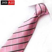 Мужской галстук полосатый Шелковый Галстук Классический розовый черный жаккардовый галстук костюм свадебные деловые галстуки