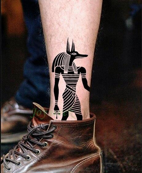 Водонепроницаемая временная татуировка наклейка протектор древней египетской греческой египетской Тотем Anubis тату флэш-тату поддельные татуировки 7