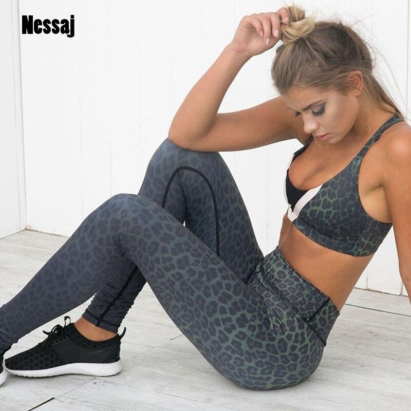 Nessaj Women New Sporting Pants Leopard Print Slim   Leggings   Fitness   Leggings   Workout Pant Black White 2 Colors Female Casual