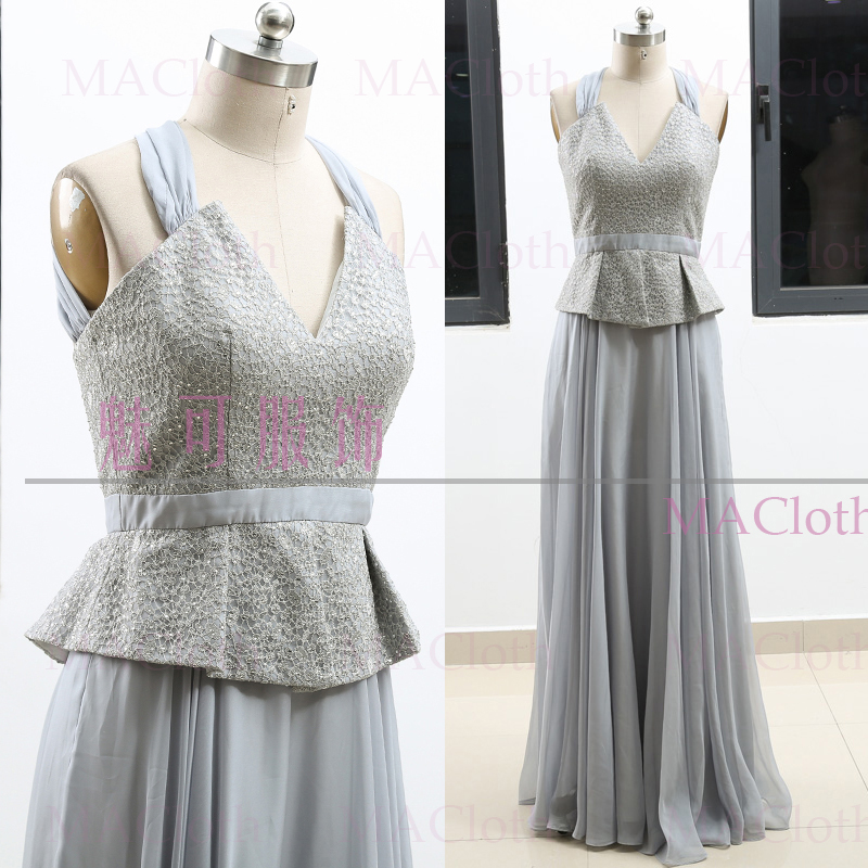 e205b3d3cc15 Silver A Line Strap Floor Length Chiffon Prom Party Formal Evening Dress L  262258-in Bridesmaid Dresses from Weddings & Events on Aliexpress.com |  Alibaba ...