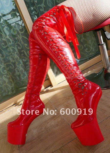 20cm High Height  Sex boot PU Platform Hoof Heels Over-the-Knee  Boot No.WG01R high boot