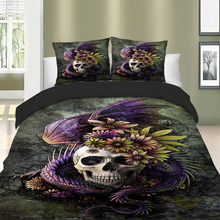 Skull dragon floral bedding 3D Printing duvet cover set single twin full queen king size bedlinen
