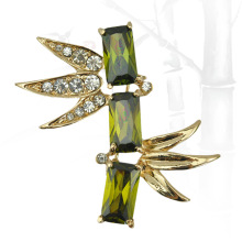2015 Beautiful Elegant  Jewelry Chinese Style Green CZ Crystal ZIrcon Bamboo Brooch Pin Corsage Crystals Jewellery
