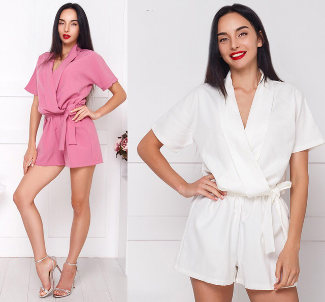 1bf664833d7 2018 Summer Women New Fashion Ladies Overalls Solid Belt Casual V-neck  Jumpsuit Party loose Rompers Elegant Female Playsuits