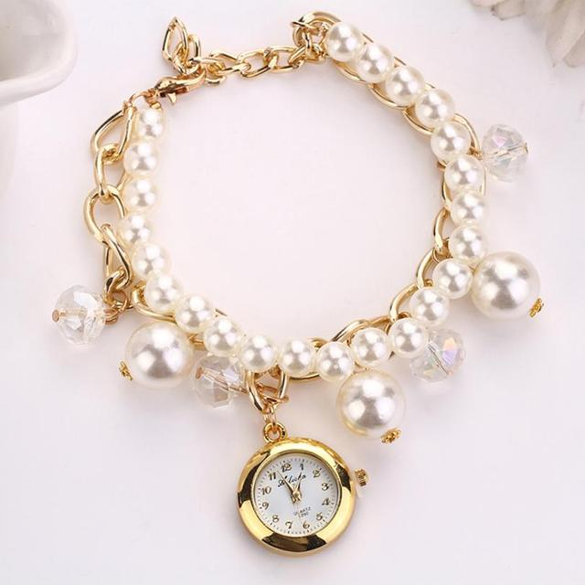 Women Watch Quartzwrisches Mens Dropshipping Exquisite Pearl Rhinestone Bracelet Wrist Beautiful Le 4
