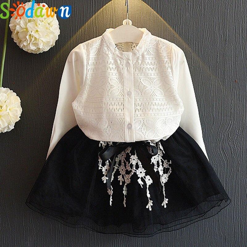 Sodawn children clothing Autumn New Girls Clothing Hollow Pattern Long Sleeve Shirt + Black Short Dress Girls Clothing Set