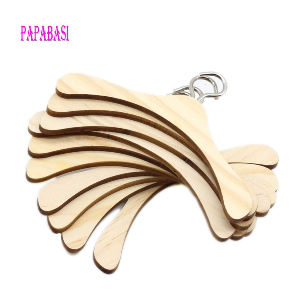 Papabasi 10pcs/lot 7.5cm Wooden Clothes Hanger Metal Hook For 1/6 BJD Dolls Toys