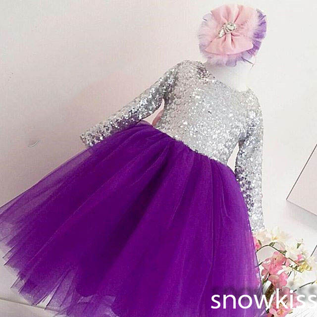 ٩(^‿^)۶Bling silver sequins Long Sleeves Purple flower girl dress ...