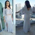 European Style Sexy Striped Crop Tops and Skirt Suit V-Neck Backless 2 Piece Women Sets Spring Summer Casual Suit