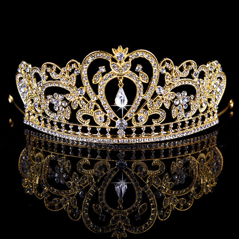 Novo Ouro Prata Rosa Nupcial Tiaras Coroas Pageant Prom vestido de Casamento Nupcial de Cristal Strass Acessórios Para o Cabelo Headband Tiara de Casamento