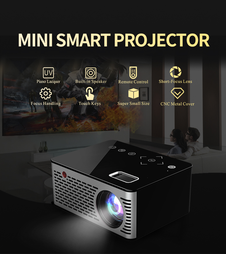 Pocket LED Mini Projector,Touch keys HDMI USB AV Video Game Projector Beamer Support External Power Bank for home theater