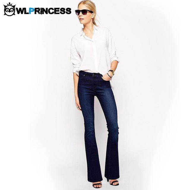 Owlprincess mujeres flare jeans retro estilo de bell bottom pantalones flacos Jeans Mujer Otoño Slim Fit Mediados de Cintura de los pantalones Anchos de La Pierna de Mezclilla pantalones
