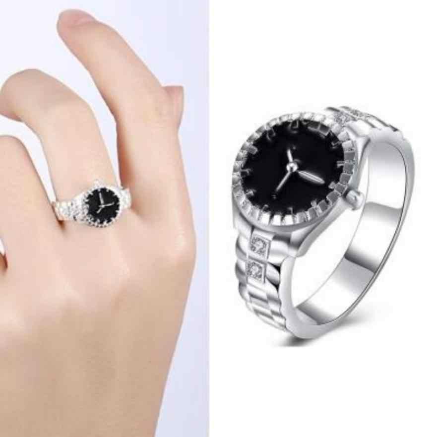 Mode femmes hommes anneaux Anillos cadran Quartz analogique montre créative en acier Cool alliage doigt anneau bijoux bibelot ornements Aneis