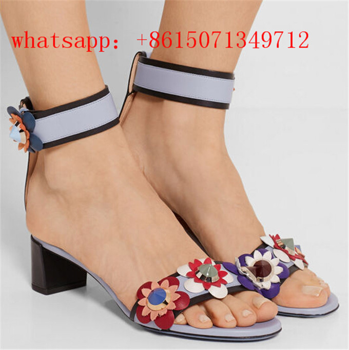 New Hot Sale Fashion Rivets Flowers Studs Chunky Heel Women Sandals Ankle Flowers Buckle Party Office Shoes Woman Casual Sandals aidocrystal woman ankle strap high heel sandals new arrival hot sale fashion office summer women casual women shoes