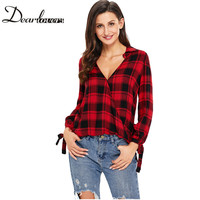 Dear Lover 2017 Casual Plaid Women Blouses Red Black Check V Neck Style Long Sleeve Shirts