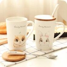 Niedliche Cartoon-Tier Keramik-tasse Kaffeetasse Keramik Tasse Tee Milch Tasse Breafast Tasse mit Deckel und Löffel