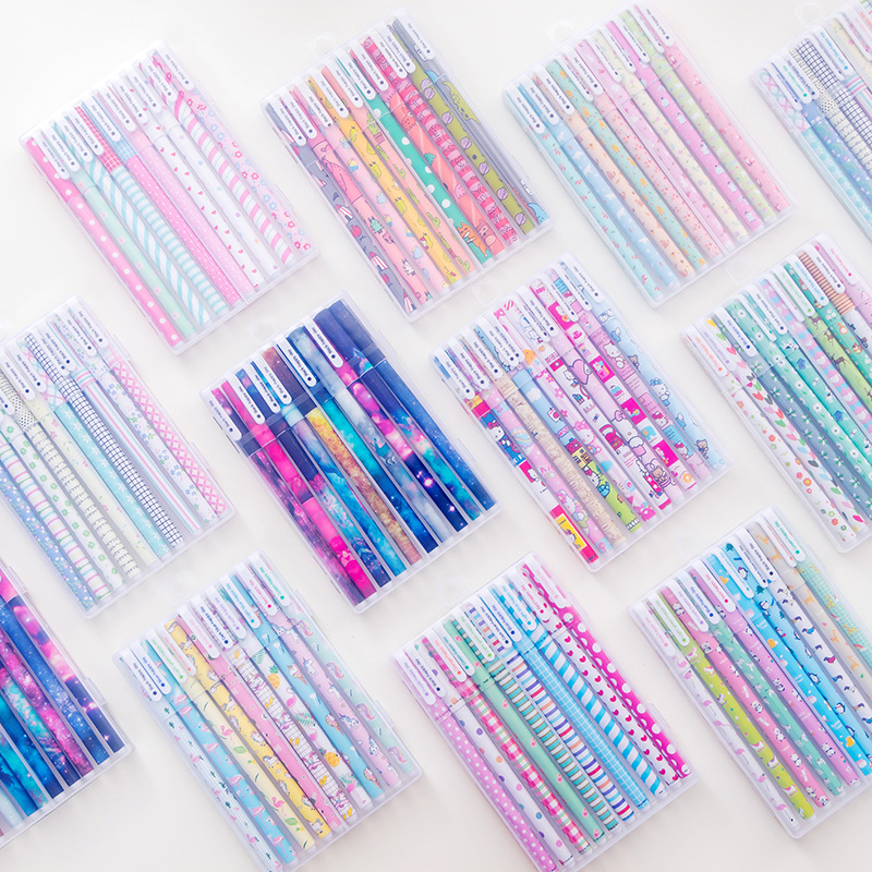 10Pcs Cute Kawaii Cartoon Gen Pen Set Ten Colored Boligrafos Pencils For Girls Boy Writing Pen Office School Stationery Supplies