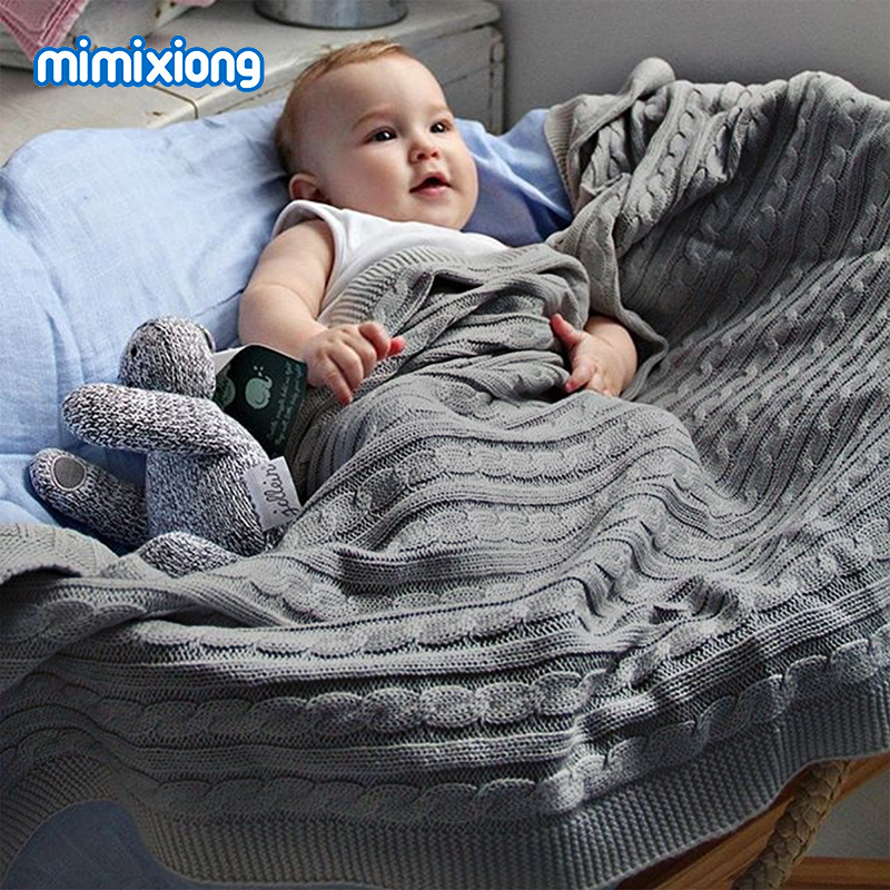 Soft Infant Baby Boys Girls Stroller Bedding Blankets Quilts Cotton Solid Color Knitted Newborn Swadding Wrap Blanket 100*80cm