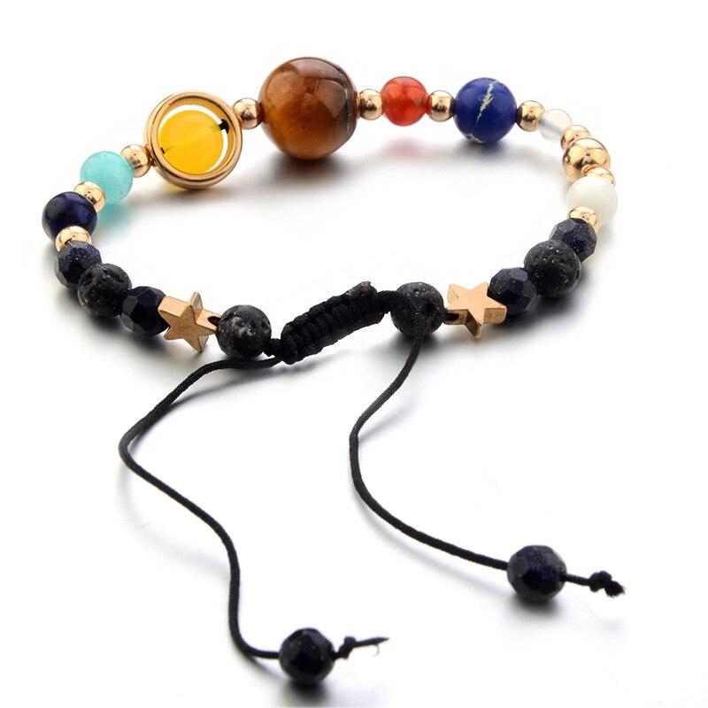 2018 New Natural Stone Beads Bracelet Guardian Star Women Men Bangle Gift Cosmic Galaxy Solar System Eight Planetary Bracelets