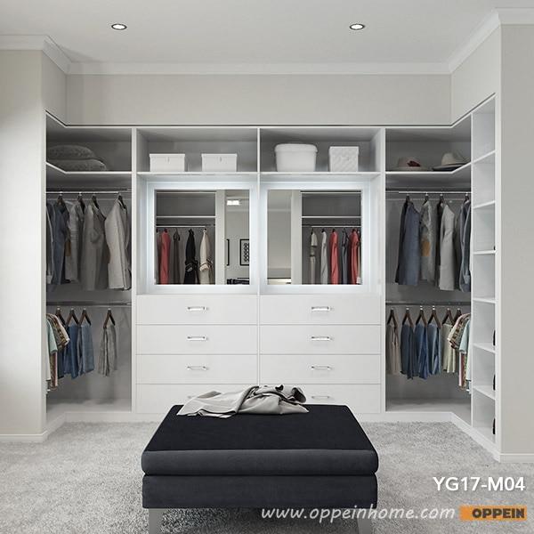 OPPEIN 2017 Modern White Melamine Walk In Closet Cloakroom (YG17 M04)