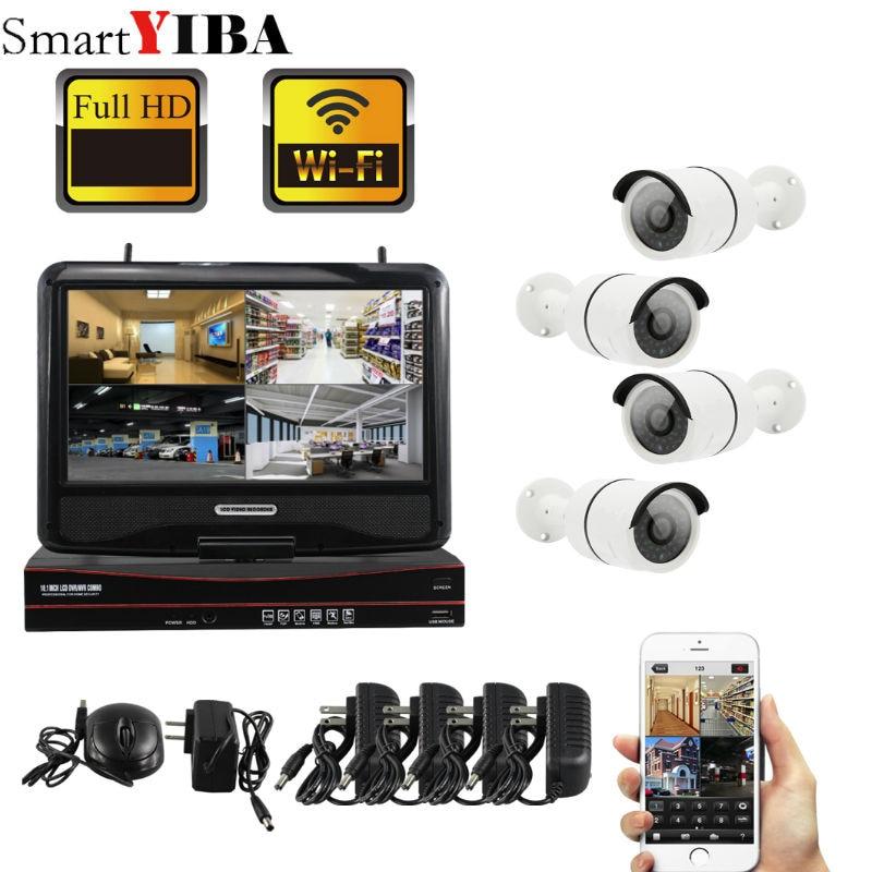 SmartYIBA Wi-Fi Wireless NVR CCTV System 4PCS 960P IP Camera WIFI Outdoor Waterproof CCTV Security Camera Surveillance KitsSmartYIBA Wi-Fi Wireless NVR CCTV System 4PCS 960P IP Camera WIFI Outdoor Waterproof CCTV Security Camera Surveillance Kits