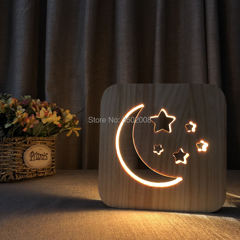 Unique wooden LED moon and star design night lamp heating lamp USB lamp for creative gift or home hotel club decoration