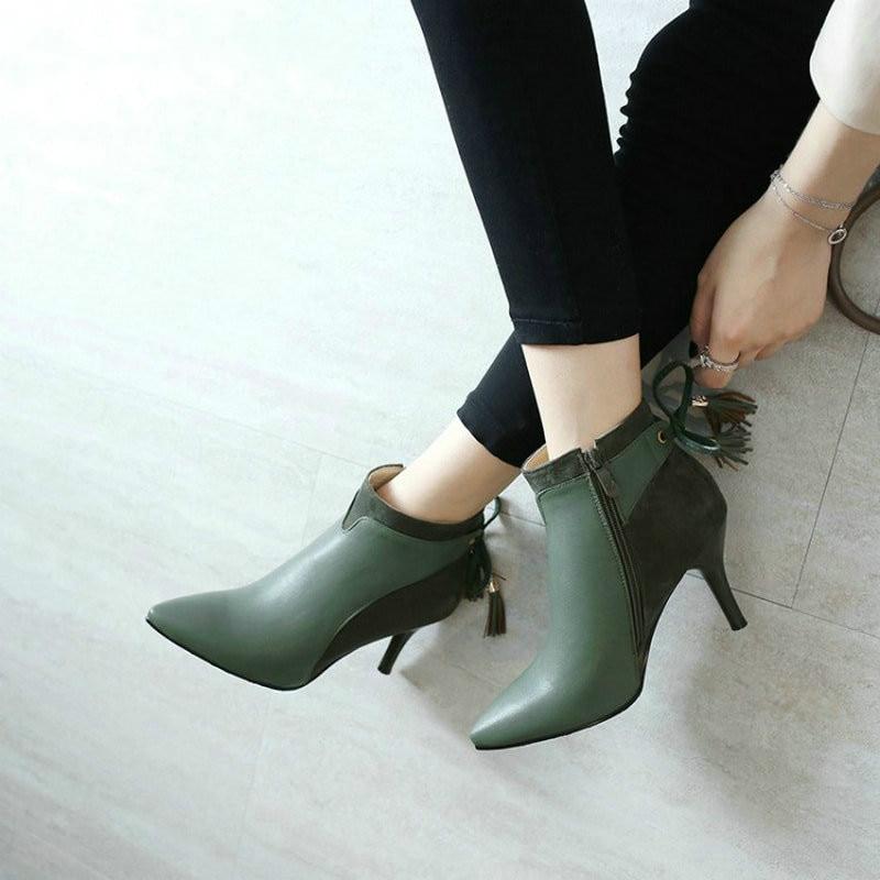 Mujer Tobillo 2019 Verde off Nudo Señoras Delgada Con Zapatos verde De Tacones Negro Otoño Pajarita Elegante Botas Invierno White Bombas xg7rwqgY