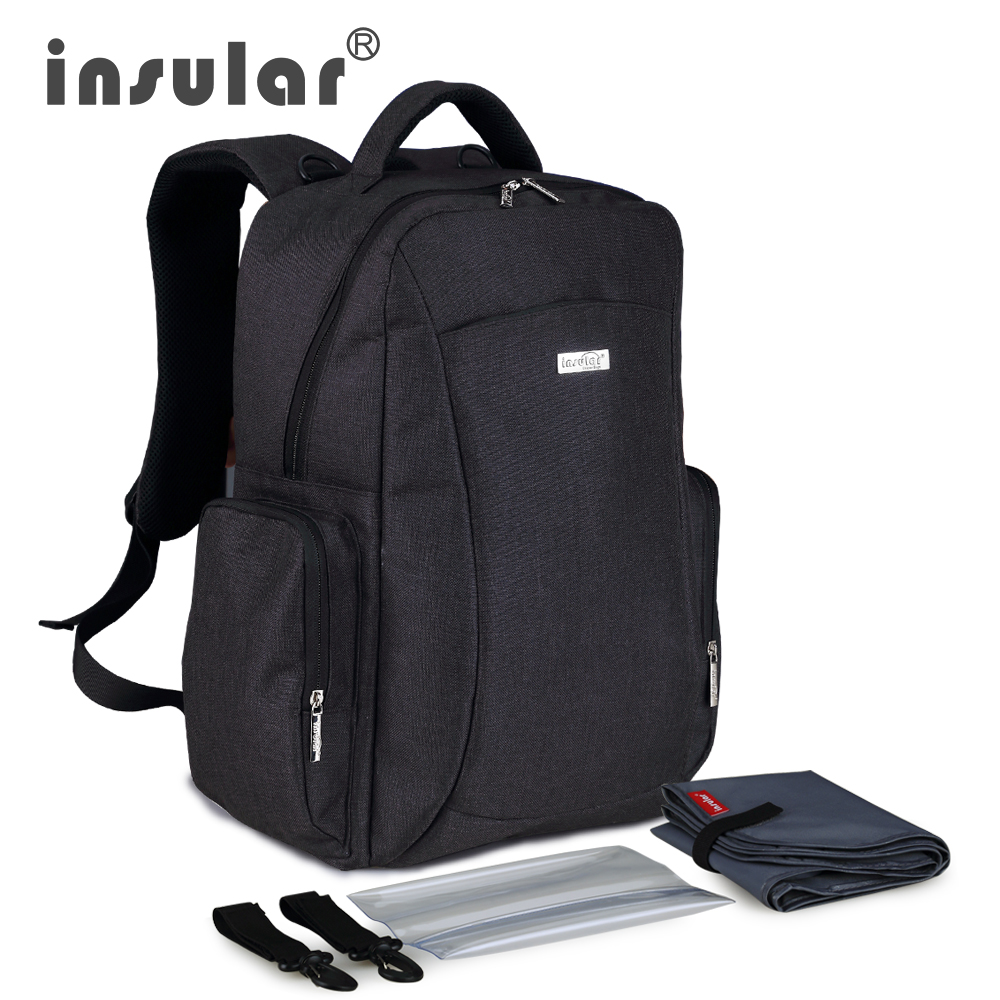 Insular Multifunctional Large Capacity Baby Diaper Bag Backpack Mommy Bag Nappy Bag Backpack Include Plastic Napkin Box