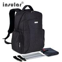Insular gran capacidad multifuncional bebé pañal bolsa mochila Mommy bag bolso del panal mochila incluye plástico servilleta
