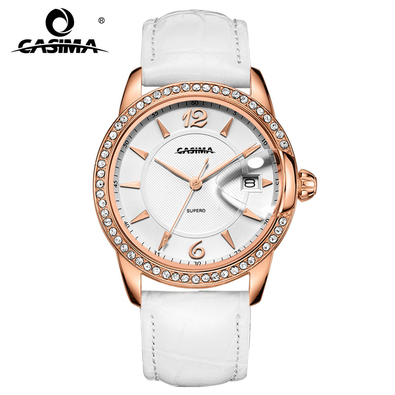 Casima fashion eleglant leather watchband stainless steel waterproof calendar women 39 s watches for Casima watches