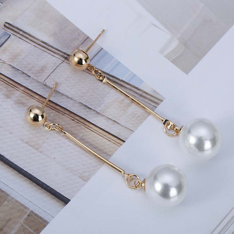 Korean Simulated Pearl Long Tassel Bar Drop Earrings For Women OL Style Sweet Dangle Brincos Party Jewelry Gift Wholesale EB478 8