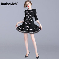Borisovich Luxury Embroidery Ladies Elegant Party Dress New 2018 Autumn Fashion Sweet Style A line Women Casual Dresses N238