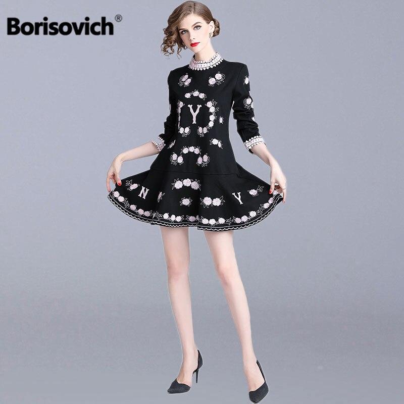 Borisovich luxe broderie dames élégant robe de soirée nouveau 2018 automne mode doux Style a-ligne femmes robes décontractées N238