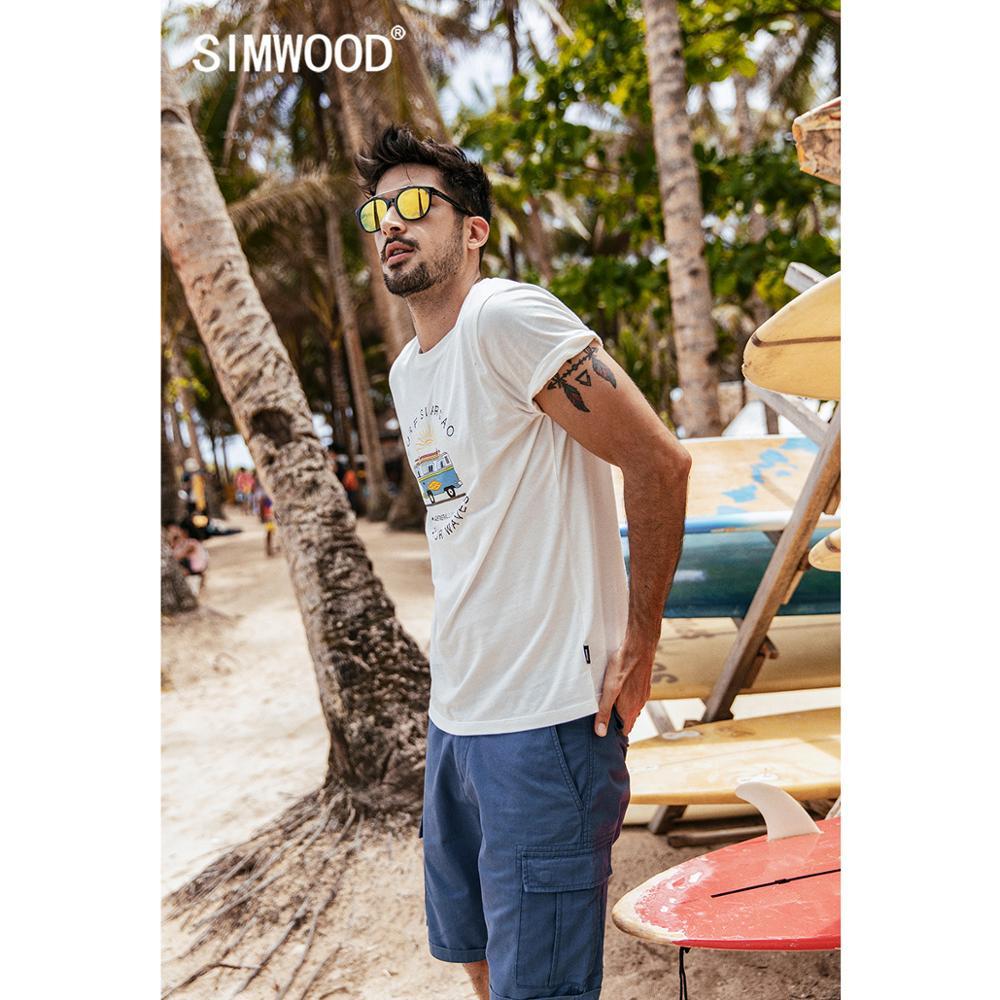 SIMWOOD 2019 summer new funny carton bus print t shirt men 100% cotton breathable tshirt thin holiday style top t-shirt 190337