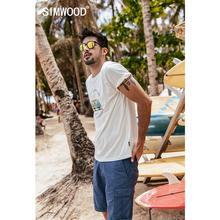 Simwood 2020 verão novo engraçado carton ônibus impressão t camisa masculina 100% algodão respirável tshirt fino estilo de férias camiseta superior 190337