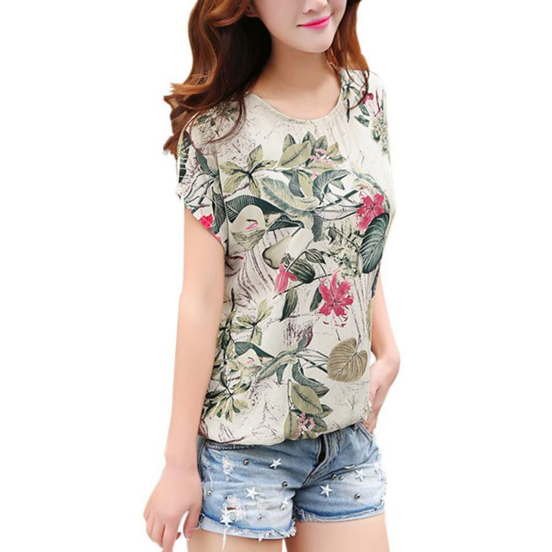 Blouse Shirt Summer Tops Floral-Print Plus-Size Casual Fashion EFINNY Blusas New