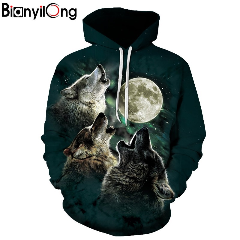 2018 new Wolf Hoodies Men/Women 3d Sweatshirts With Hat Print 3 Wolf Howling To The Moon Thin Hooded Hoodies Hoody hip hop tops