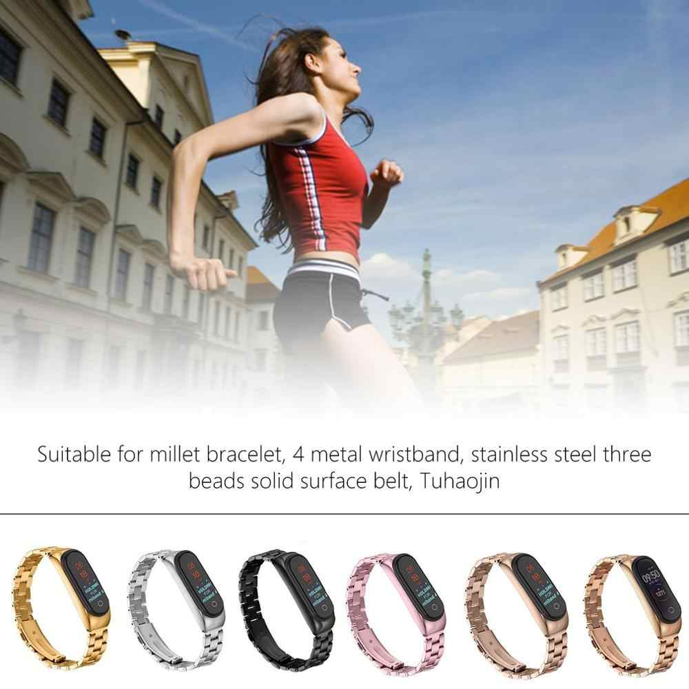 For Xiaomi Mi Band 4 Replacement Sport Strap Metal Wristband Bracelet Two-Tone Replacement Strap Three Beads Solid Strap
