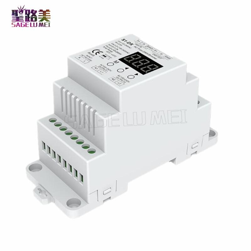1pcs S1-DR AC100V-240V DIN Rail 2 Channel 2CH AC Triac DMX Dimmer, Dual Channel Output Silicon DMX512 LED Controller