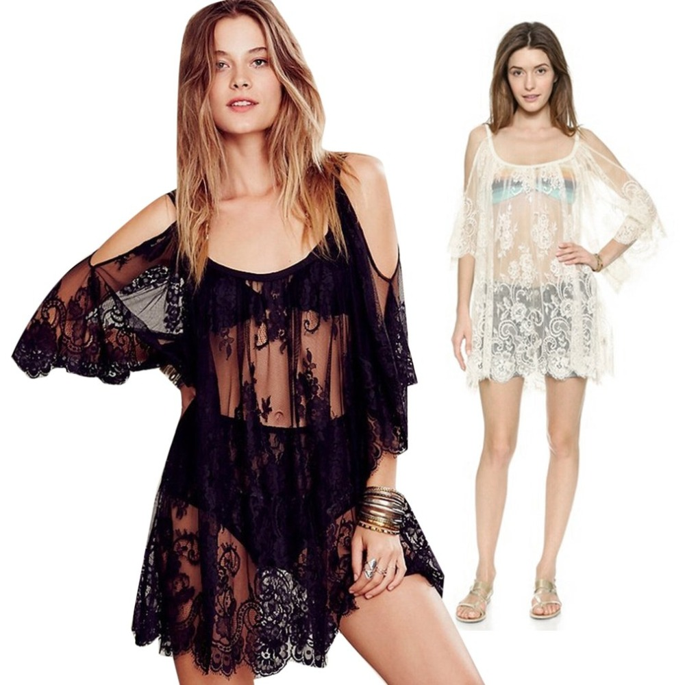 European Women Cover up Crochet Swimwear Lace Dress Lady Bathing Swimsuits Sexy Hollow Out Beach suit for female S-XL