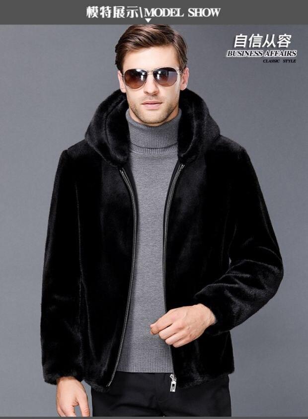 Mink coat menswear imported whole mink fur winter real hooded wet