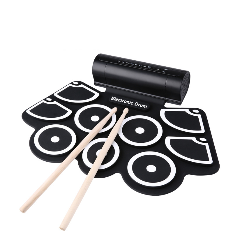 KONIX Portable Electronic Roll Up Drum Pad Set 9 Silicon Pads Built-in SpeakersSupport USB & MIDI cheerlink md 1008 usb portable multifunctional professional midi electronic drum multicolored