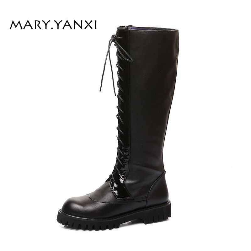 Фотография Women Shoes Knee-High Long Boots Motorcycle Boots Genuine Leather Round Toe Big Size Low Heels Fleeces Cross-tied Lace-Up