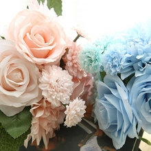 Bridal Bouquets Silk Flower Roses Dahlias Bouquet of Rose Dahlia Silk Artificial Rose Flower Wedding Artificial Flowers Home Dec