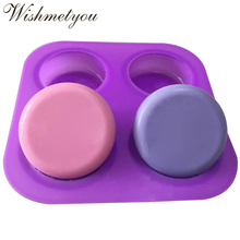 WISHMETYOU Four Hole Round Silicone Soap Mold For DIY Handmade Cake Decorating Tools Reusable Molds Heat Resistant Crafts