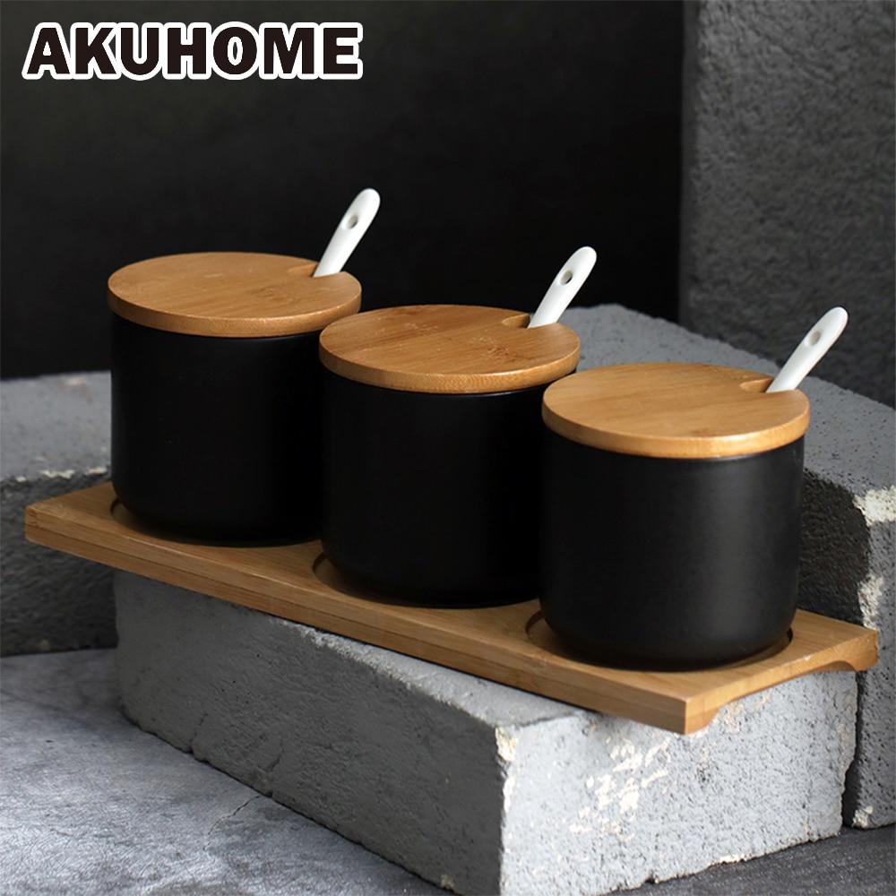 3 pièces noir en céramique pot À Épices avec cuillère et couvercle simple et créative sel pot Européen Cuisine fournitures AKUHOME