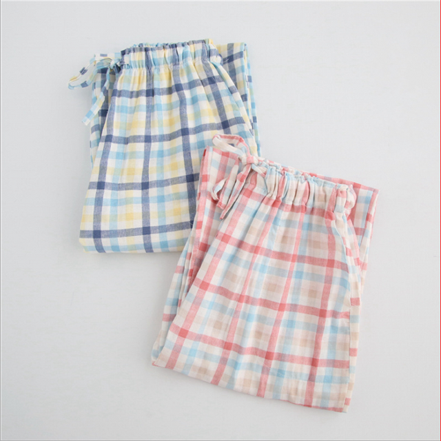 placeholder 2019 Spring Girls Brand Homewear Women Casual Plaid sleepwear  bottom Ladies long length nighty Pants Female b1e90c963