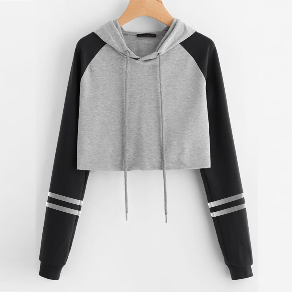 New Hoodies Sweatshirts Womens Solid Long Sleeve Splice Pullover Hooded Sweatshirt Short Tops Blouse Moletom Feminino Inverno